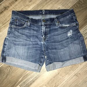 7 for all Mankind Havana wash rolled jean short 29
